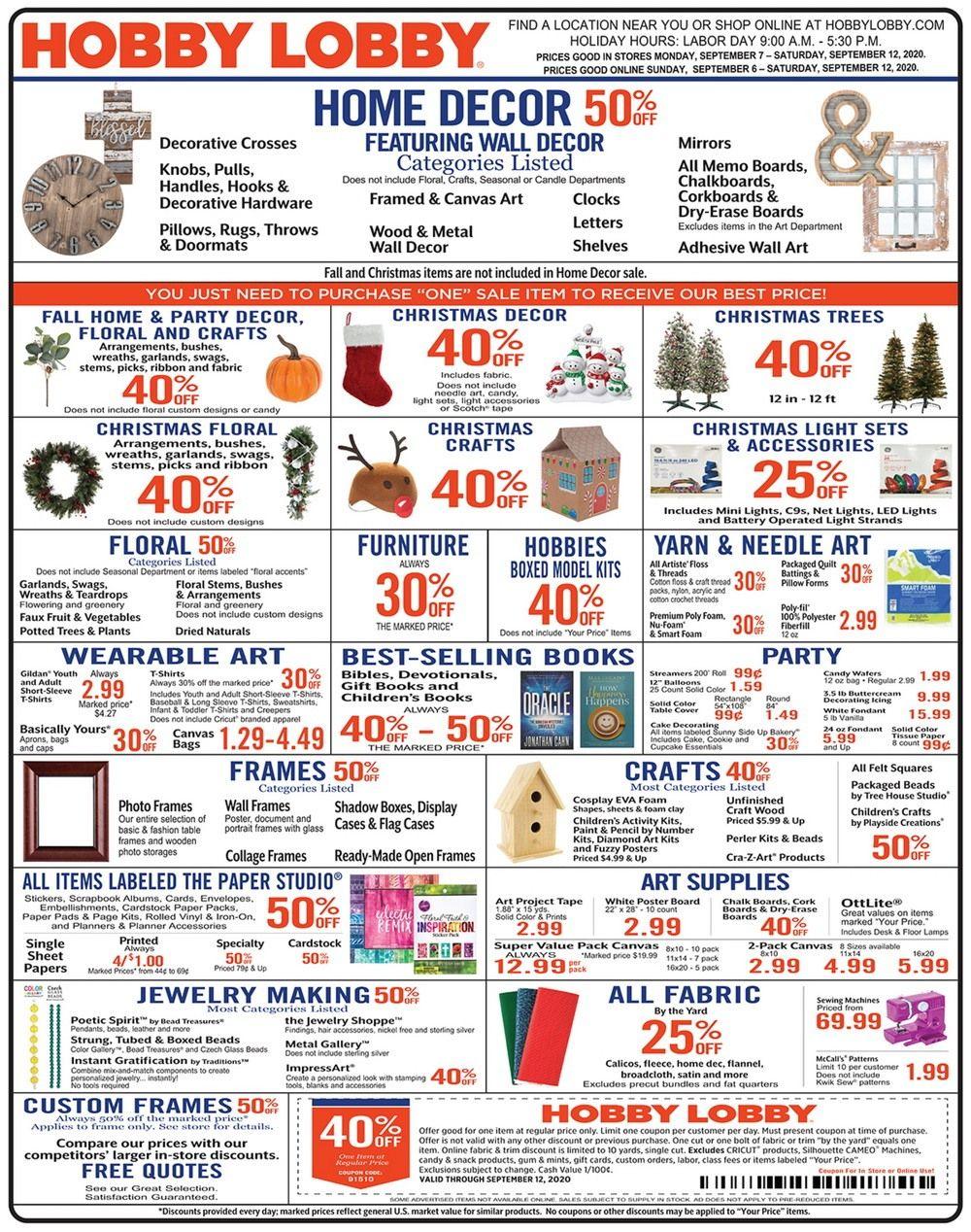 Hobby Lobby Weekly Ad Sep 06 Sep 12 2020
