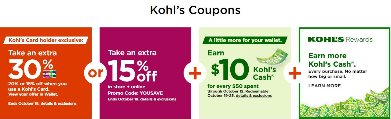 Kohls Coupons Sale Until Oct 18 2020